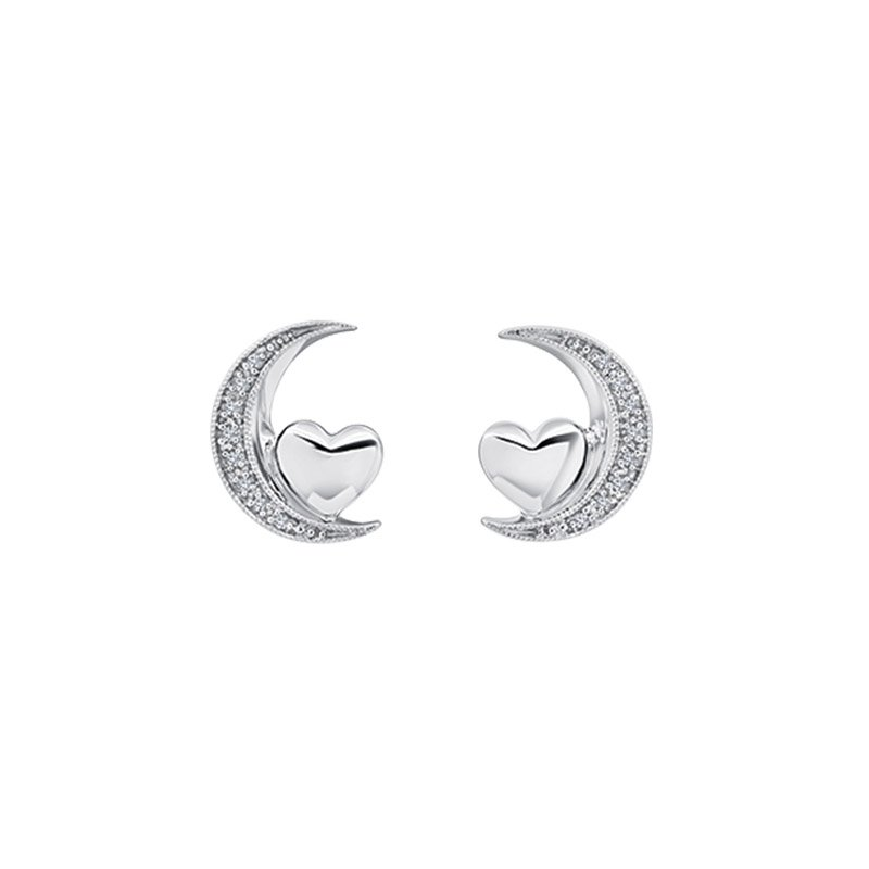 Greenberg's sterling silver crescent heart love star earrings