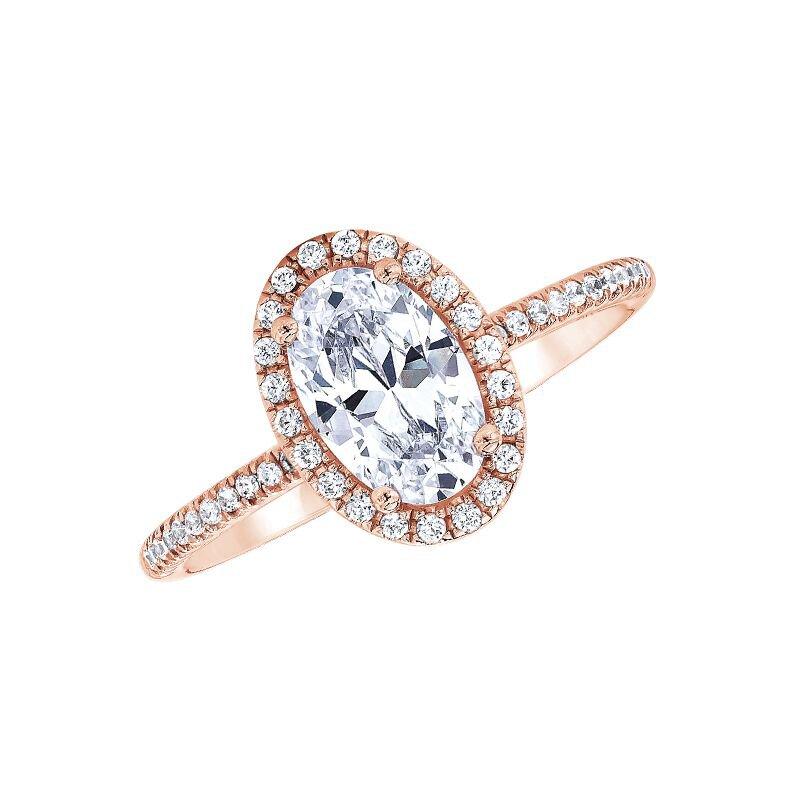 Love Story 14k rose gold 1/5ctw oval semi mount diamond engagement ring
