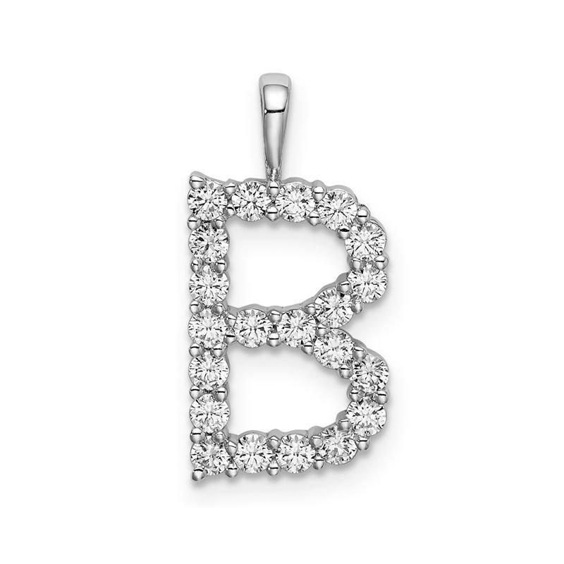 "Greenberg's 14k white gold initial ""B"" pendant"