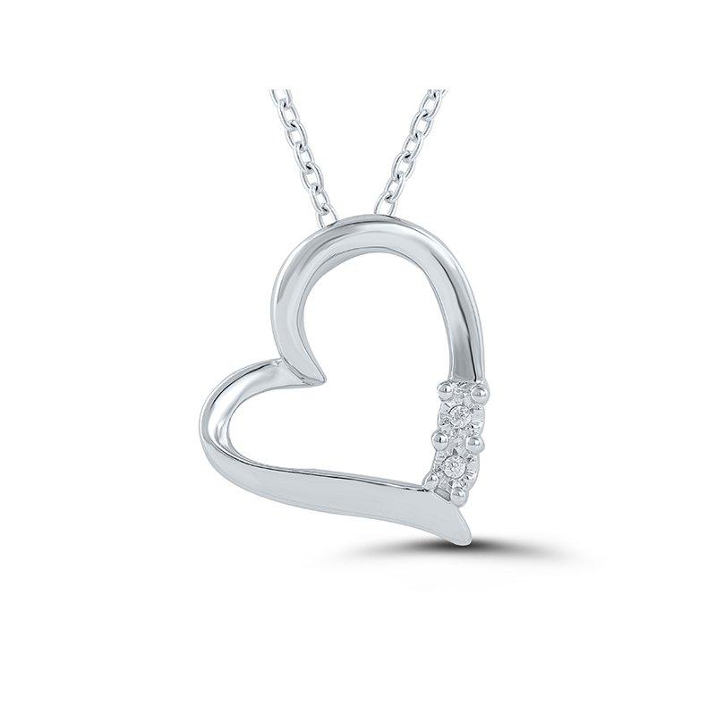 Greenberg's sterling silver diamond heart pendant