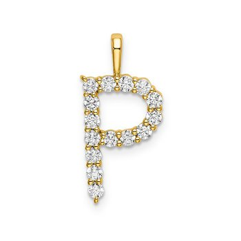 "14k yellow gold initial ""P"" pendant"