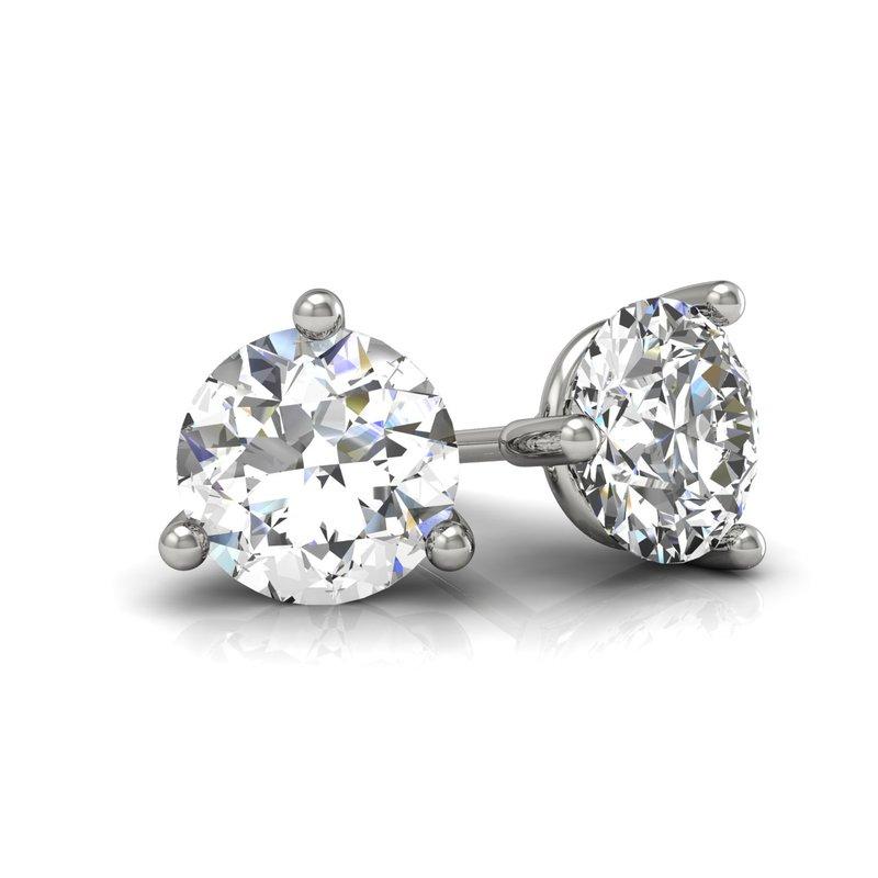 Greenberg's 14k white gold 1ct round stud diamond earrings