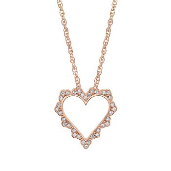 14k rose gold heart pendant