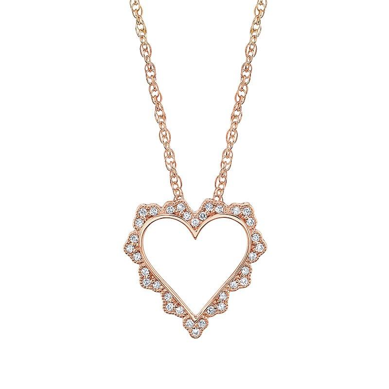Greenberg's 14k rose gold heart pendant