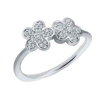 sterling silver 0.22ctw double flower ring