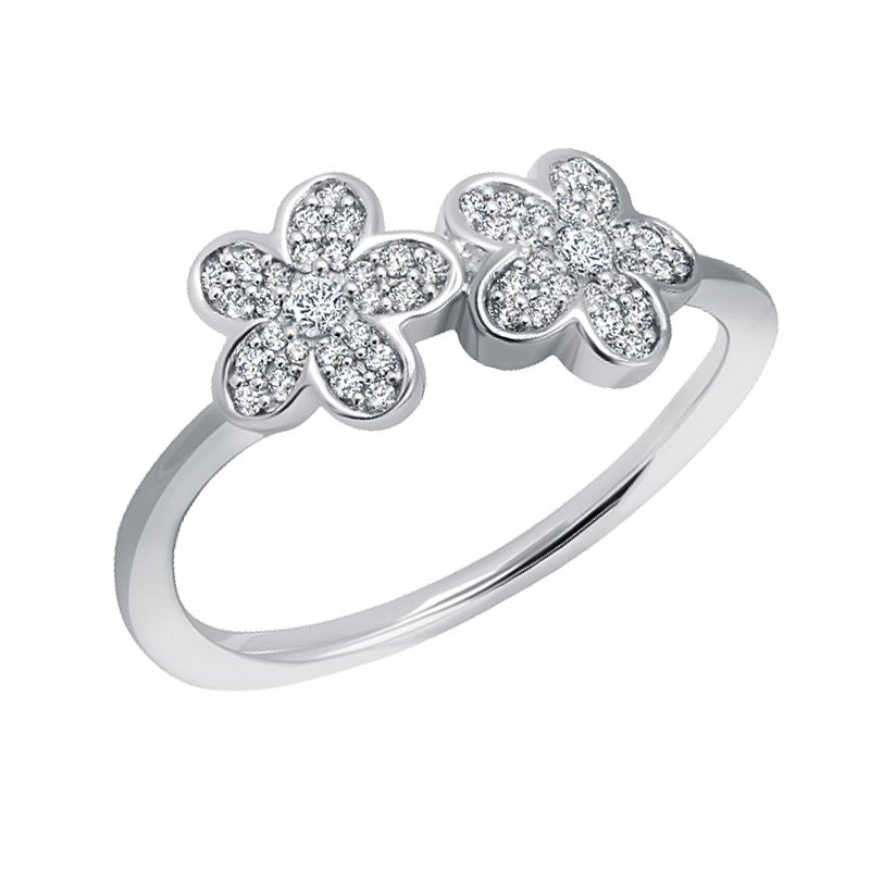 Greenberg's sterling silver 0.22ctw double flower ring