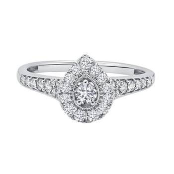 10k white gold 1/4ctw diamond pear promise ring