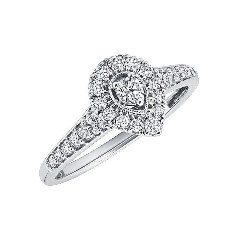 Greenberg's 10k white gold 1/4ctw diamond pear promise ring