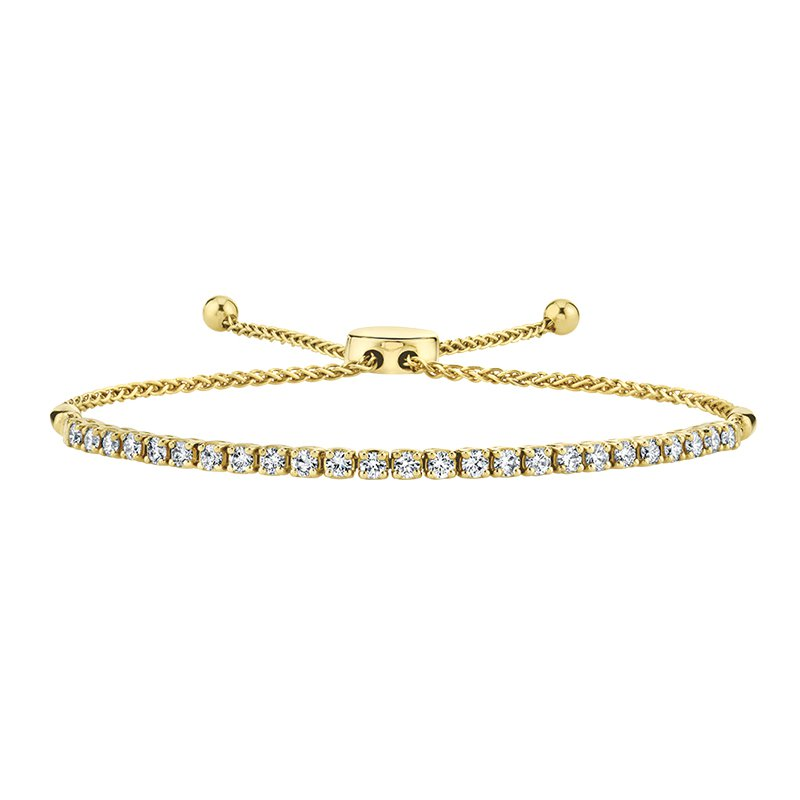 Greenberg's 14k yellow gold diamond bolo bracelet
