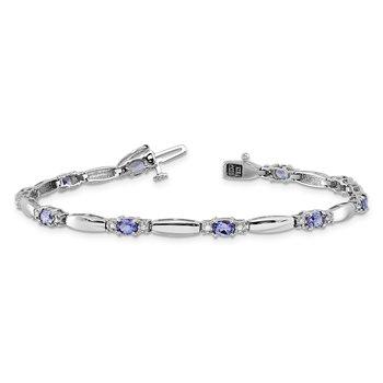 14k white gold tanzanite diamond bracelet