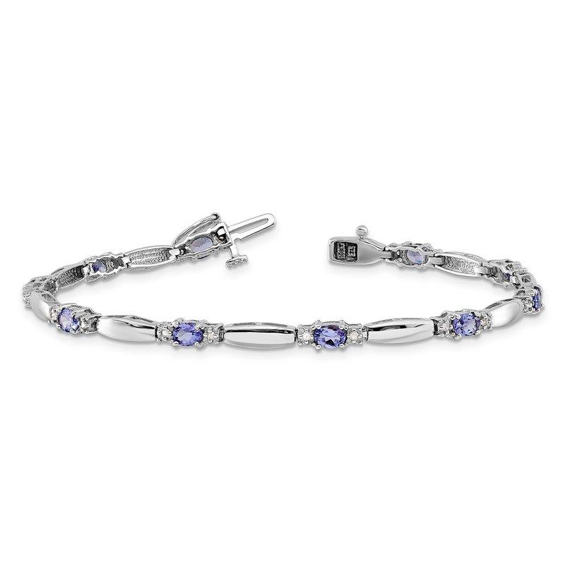 Greenberg's 14k white gold tanzanite 0.10ctw diamond bracelet
