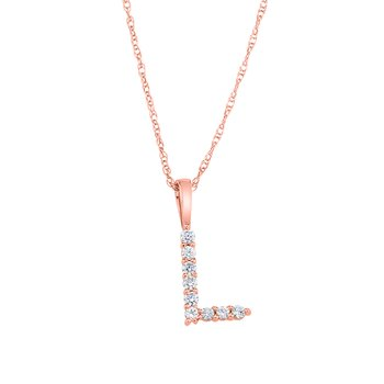 "14k rose gold ""L"" initial pendant with chain"