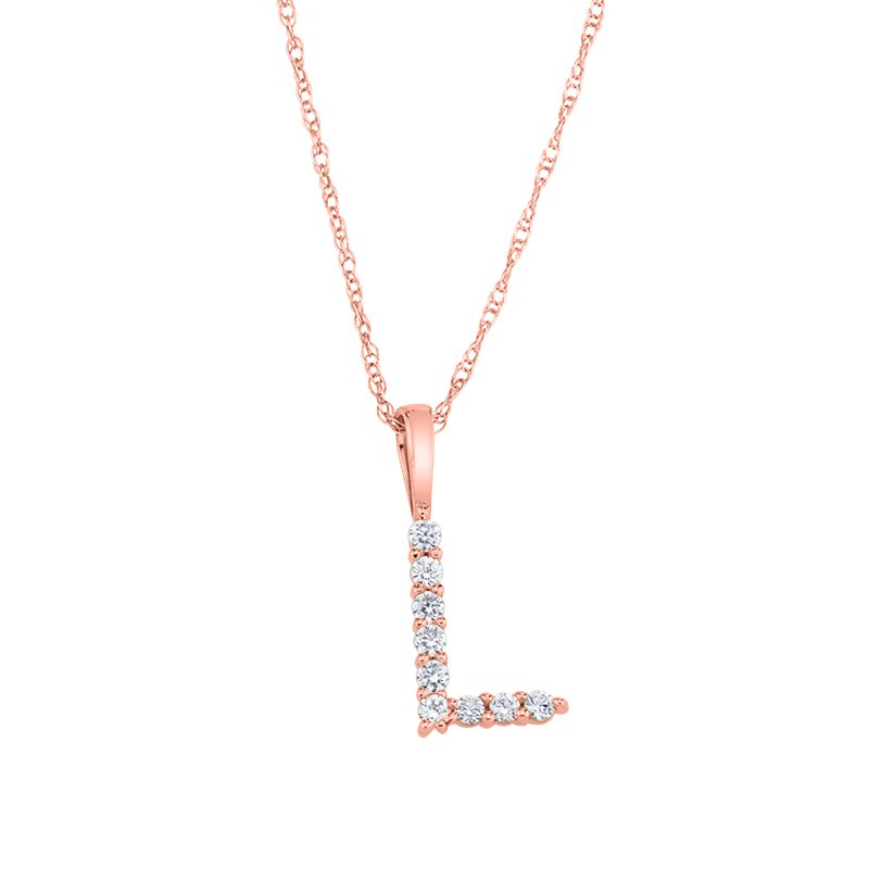 """Greenberg's 14k rose gold """"L"""" initial pendant with chain"""