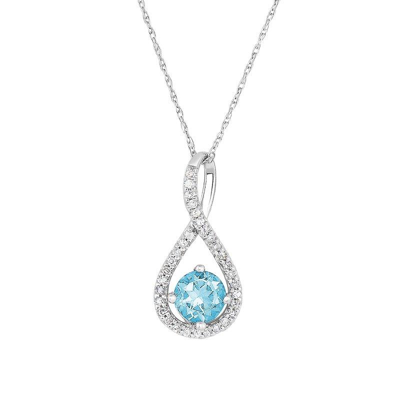 Greenberg's sterling silver .10ctw aquamarine swirl pendant