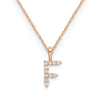 "14k rose gold initial ""F"" pendant with chain"