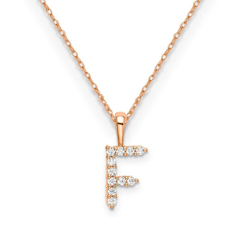 "Greenberg's 14k rose gold initial ""F"" pendant with chain"