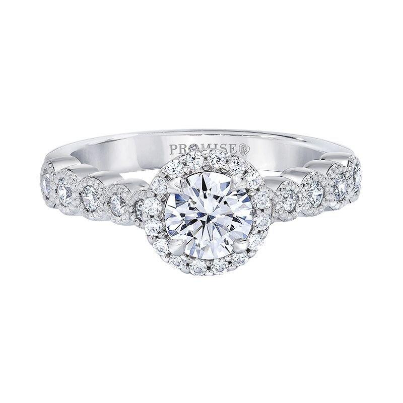 Love Story 14k white gold 1-1/6ctw 3/4ct round diamond engagement ring