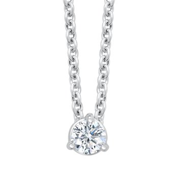 14k white gold 1/4ct 3-prong diamond pendant