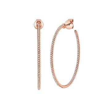 1/3CTW 14K R/G Diamond Hoop Earrings