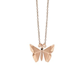 sterling silver with pink micron plating origami butterfly pendant