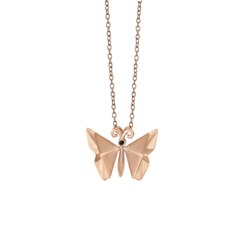 Greenberg's sterling silver with pink micron plating origami butterfly pendant