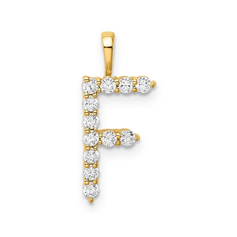 "Greenberg's 14k yellow gold initial ""F"" pendant"