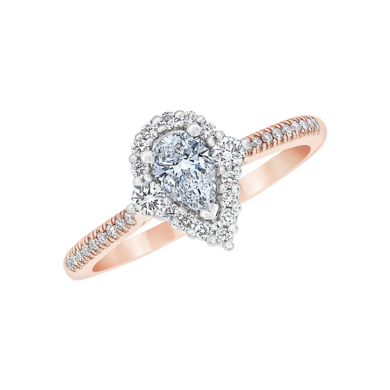 Love Story 14k white and rose gold 5/8ctw 3/8ct pear-shaped diamond engagement ring