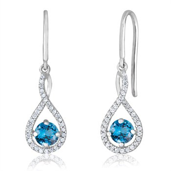 sterling silver and diamond blue topaz drop earrings