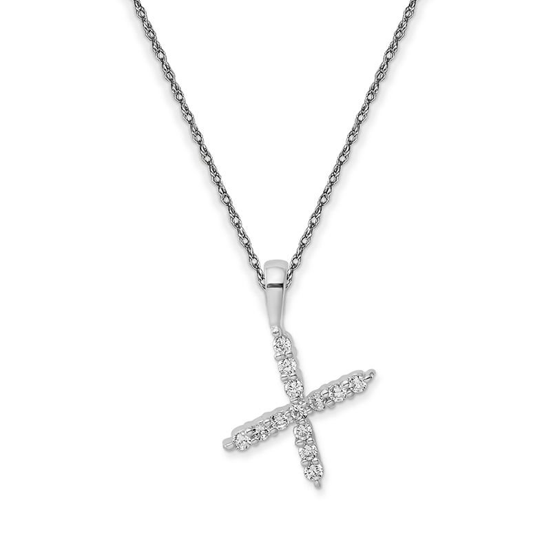 """Greenberg's 14k white gold initial """"x"""" pendant with chain"""