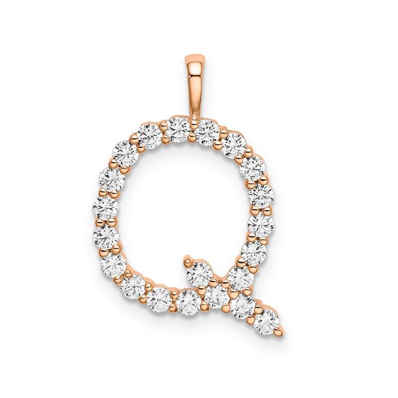 "Greenberg's 14k rose gold initial ""Q"" pendant"