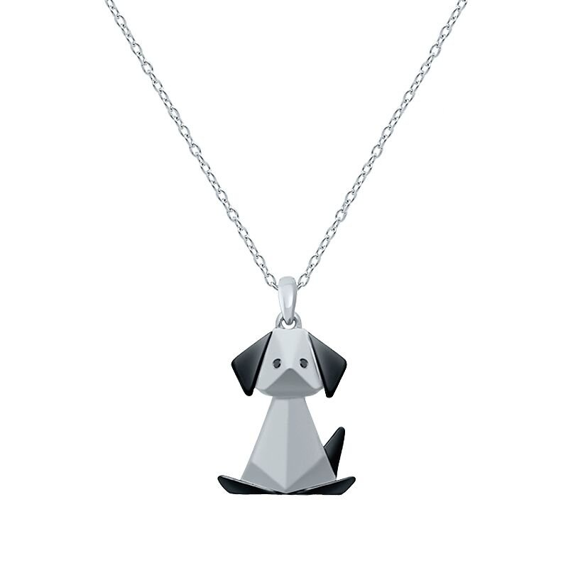 Greenberg's sterling silver origami dog pendant