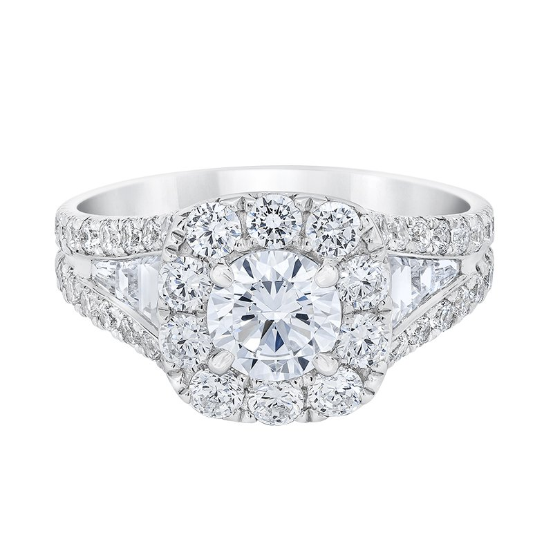 Love Story 14k white gold 3/4 round diamond engagement ring