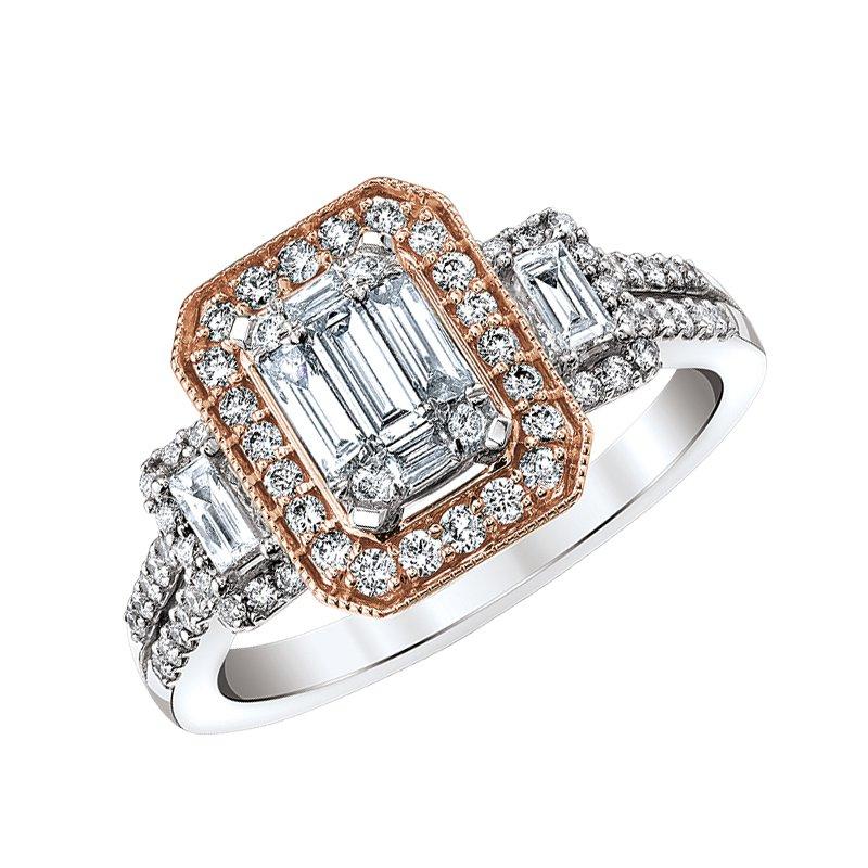 Beautiful Bride 14K WG & RG Emerald Cluster Diamond Engagement Ring