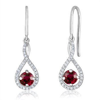 sterling silver and diamond ruby drop earrings