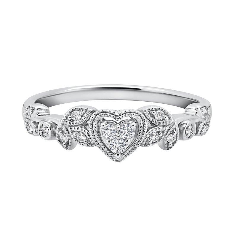 Greenberg's sterling silver 1/8ctw diamond heart ring