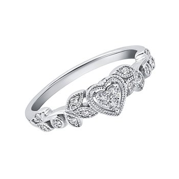 sterling silver 1/8ctw diamond heart ring