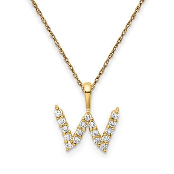 "14k yellow gold ""w"" initial pendant with chain"