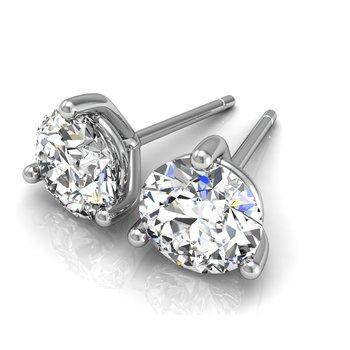 14k white gold 1ct round stud diamond earrings