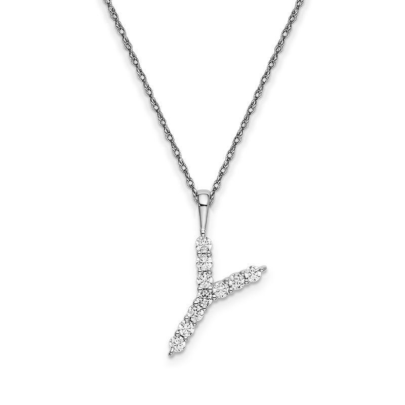 """Greenberg's 14k white gold initial """"Y"""" pendant with chain"""