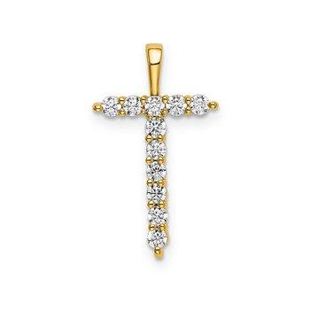 "14k yellow gold initial ""T"" pendant"