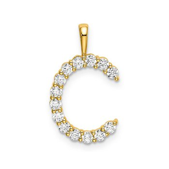"14k yellow gold initial ""C"" pendant"