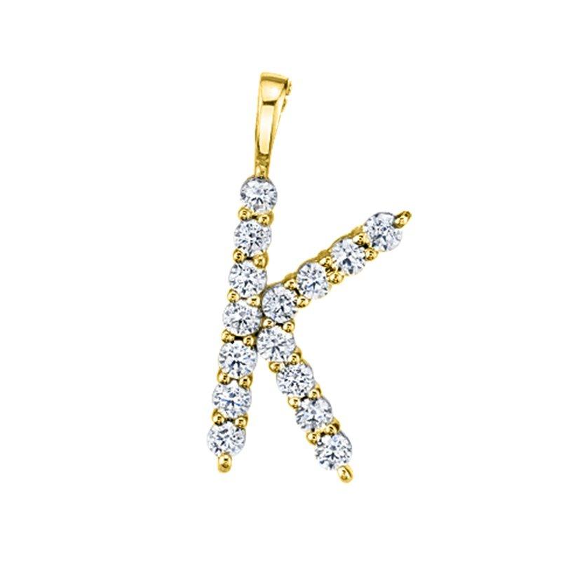 "Greenberg's 14k yellow gold initial ""k"" pendant"