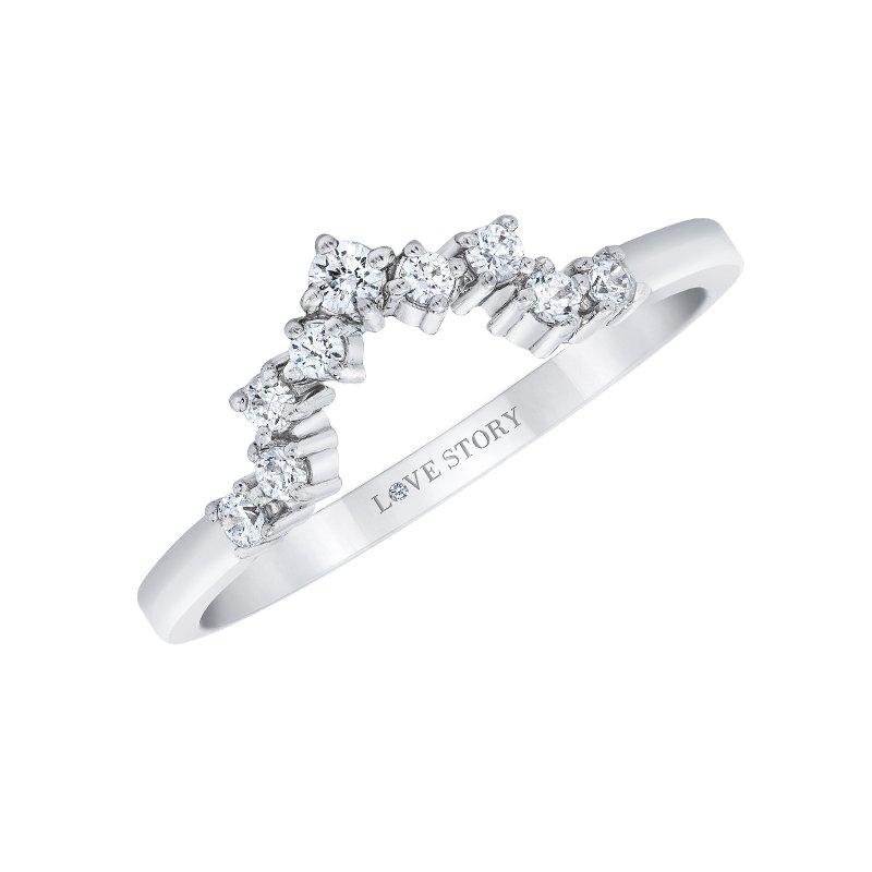 Love Story 14k white gold .16ctw contour diamond wedding band