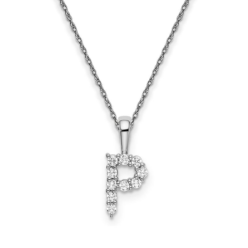 """Greenberg's 14k white gold initial """"P"""" pendant with chain"""