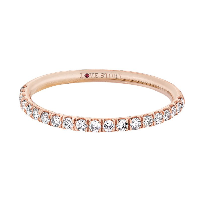 Love Story 14k rose gold 1/4ctw diamond wedding band