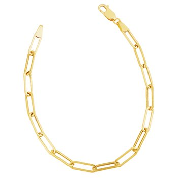 14k yellow gold 4.5mm polished paper clip chain bracelet