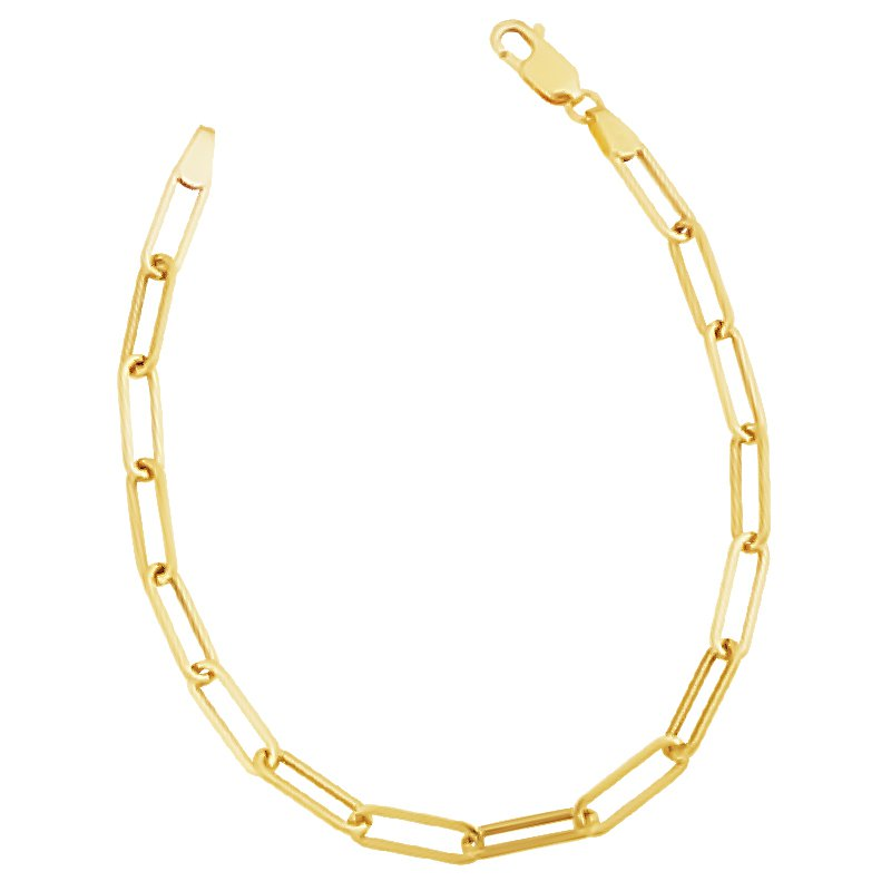 Greenberg's 14k yellow gold 4.5mm polished paper clip chain bracelet