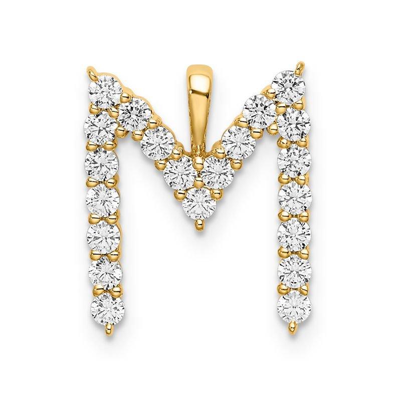 "Greenberg's 14k yellow gold initial ""M"" pendant"