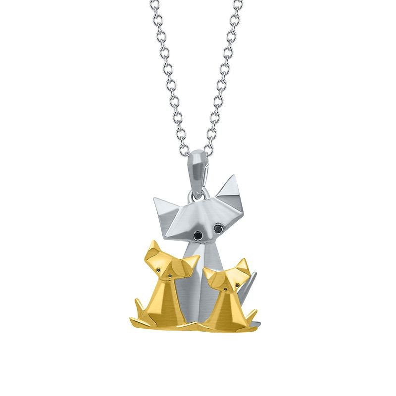 Greenberg's sterling silver origami cat and kittens pendant