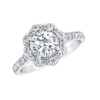 14k white gold 5/8ctw semi mount engagement ring